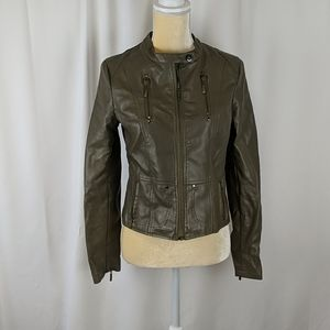 Chocolate brand vegan leather motorcycle jacket